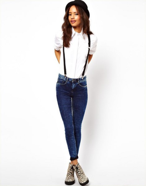 white button up shirt with pendant jeans