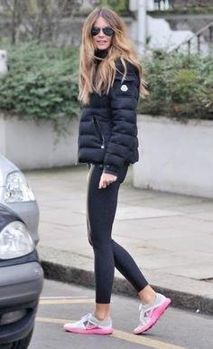 black bubble skirt with dark gray leggings