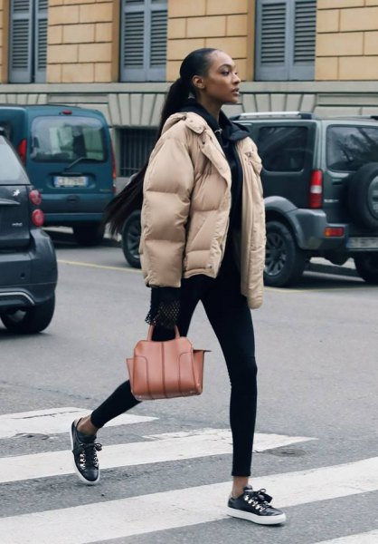 ivory bubble jacket with all black outfit