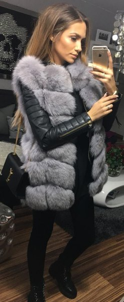 gray sleeveless faux fur bubble skirt with black leather jacket