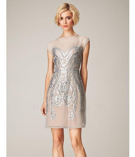 silver chiffon and sequin mini gatsby dress
