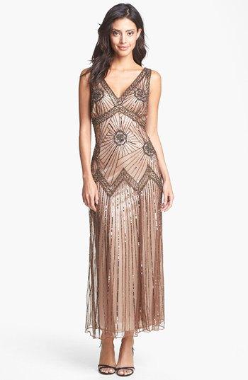 pink gold v maxi dress with v-neck