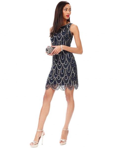 black and silver scalloped mini mini dress