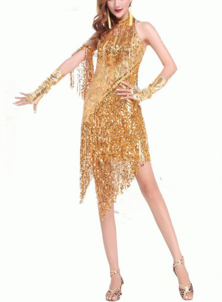gold sequin fringed gatsby style mini dress