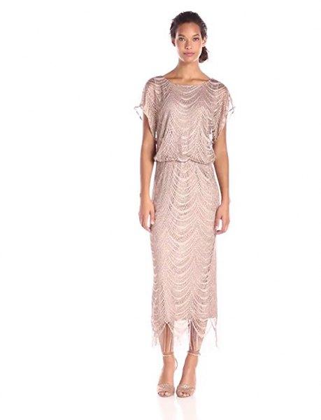 silver short sleeve maxi fringe vintage dress