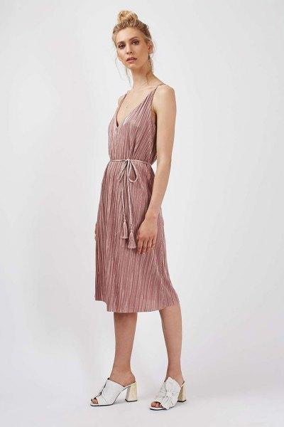 gray deep v-neckline waist pleated dress