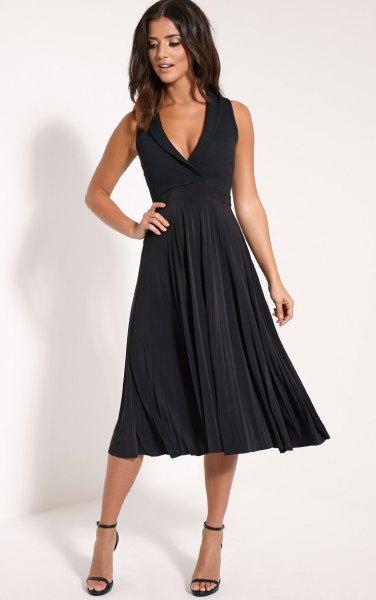 black deep v-neck fit and flare midi pleated dress