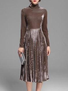 gray silk mock neck long sleeve pleated dress