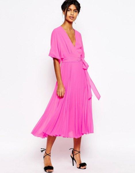 neon pink midi pleated tie waist wrap dress