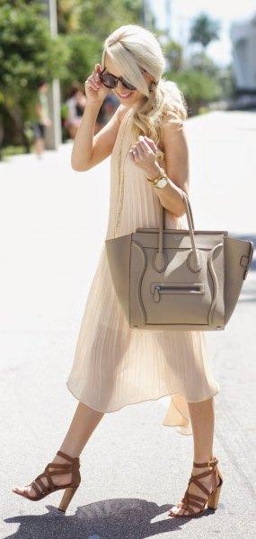 white semi pure chiffon pleated midi dress