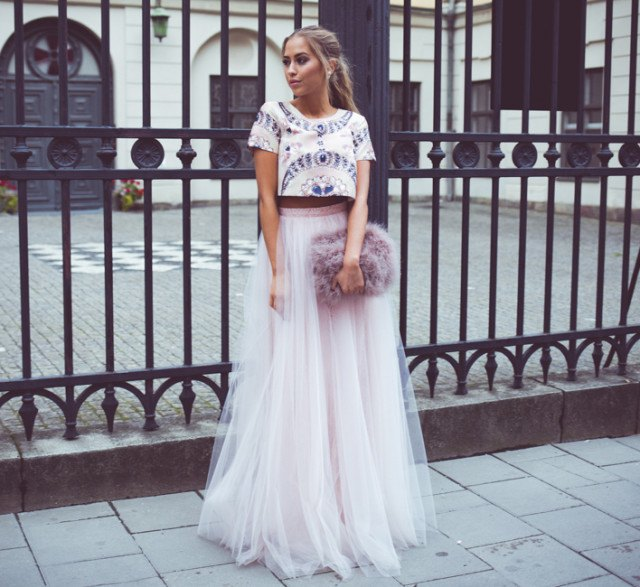 white and blue printed cropped t-shirt with floating tulle skirt