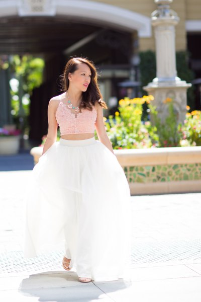 reddish pink lace cropped camisole with white long tulle skirt