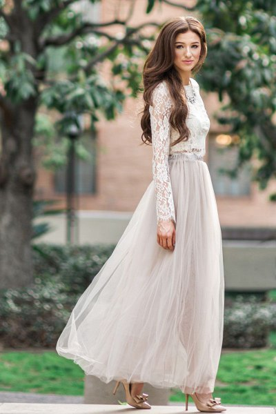 white lace blouse with light gray maxi tulle skirt