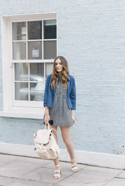 mini skater dress with blue washed denim jacket