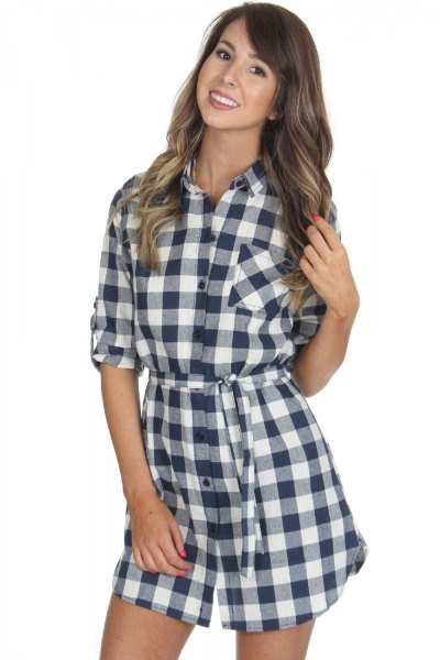 black and white sleeve plaid shirt dress