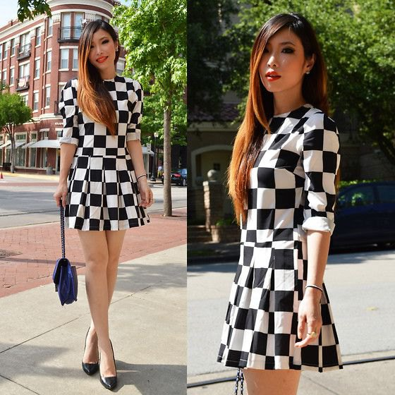 black and white checkered mini skater dress
