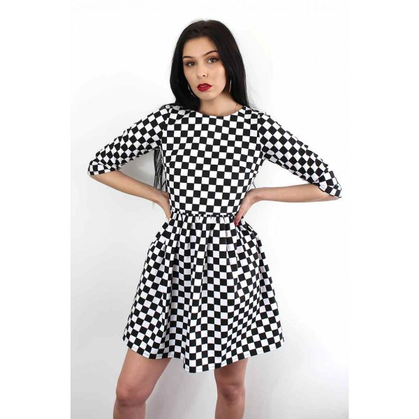 half-heated checkered fit and flare mini dress