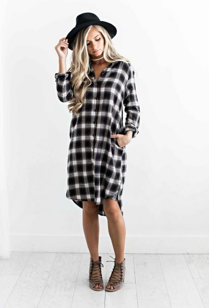 plaid boyfriend dress dress with black felt hat