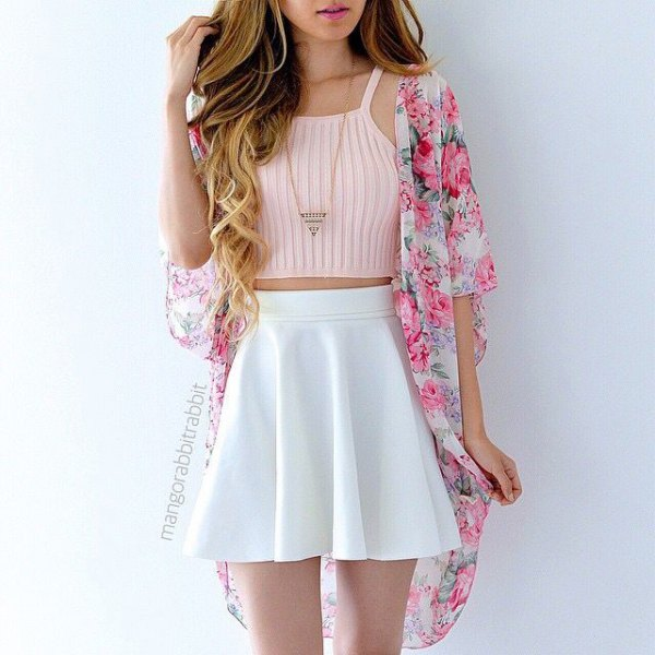 light pink cropped sleeveless sweater with floral kimono
