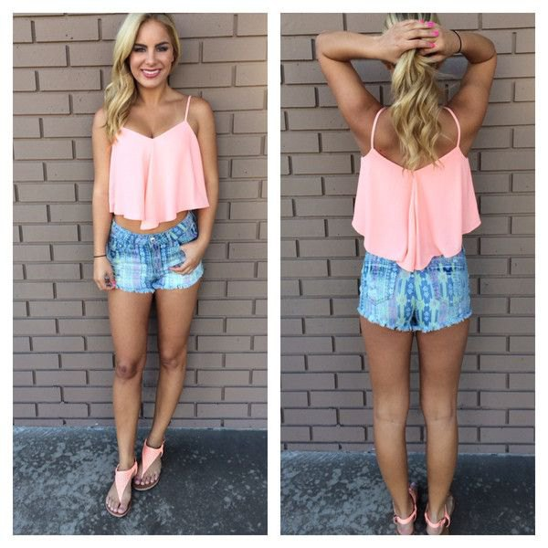 white harvest tank with blue printed denim shorts