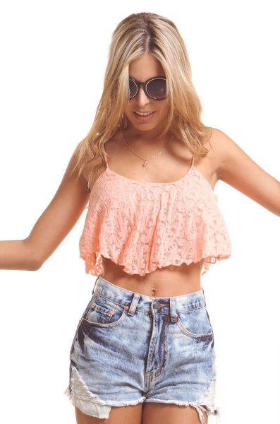 blush pink lace crop with blue denim shorts