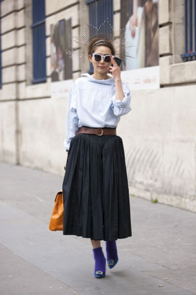 light blue cabbage blouse with black maxi pleated skirt