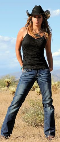 black camisole and dark blue jeans with straight legs