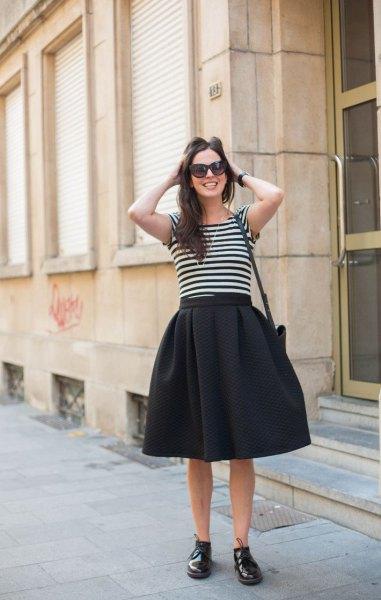 black midi circle skirt with striped t-shirt