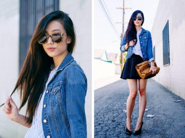 black mini circle skirt with blue denim jacket