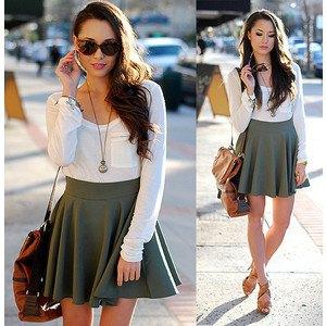 white pocket in long sleeve t-shirt with gray high waist mini skirt