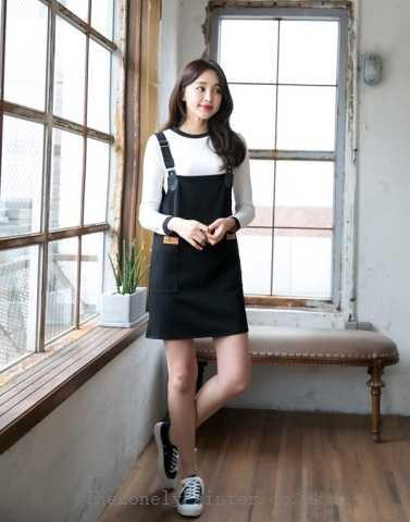 white long sleeve tee with black suspenders mini dress