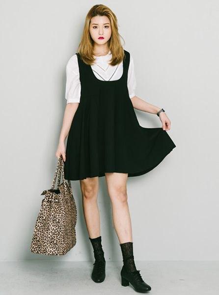 white halter sweater with black suspenders mini swing dress