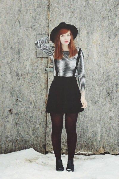 mini skater skirt with black and white striped long sleeve t-shirt