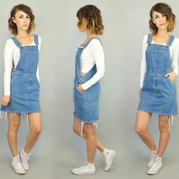 white cropped shape matching sweater with blue denim braces dress