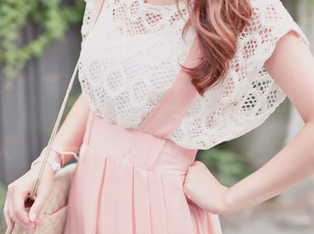 white crochet lace cap with top pink dress