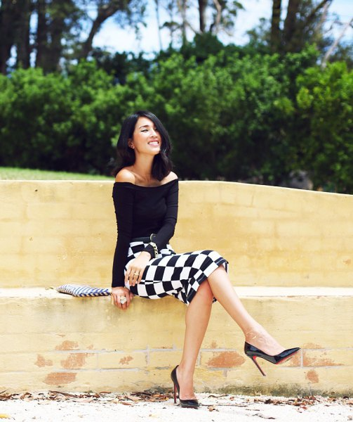 black from the shoulder top with checkered midi bodycon skirt