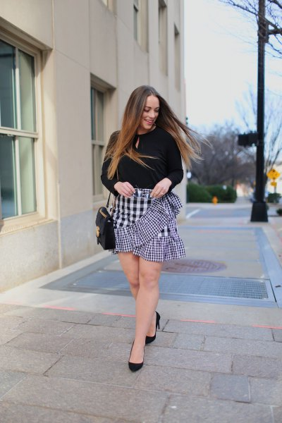 black sweater with keyhole with plaid mini ruffle skirt