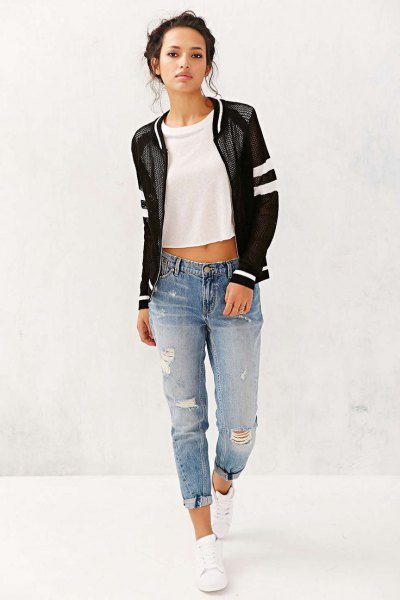 black net jacket with white cropped tee and boyfriends