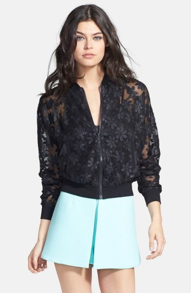 black floral embroidered lace jacket with white skater mini skirt