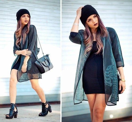 black long mesh jacket with mini shift dress