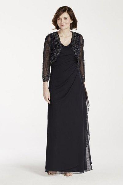 black mesh short jacket with a floor length sheath dress