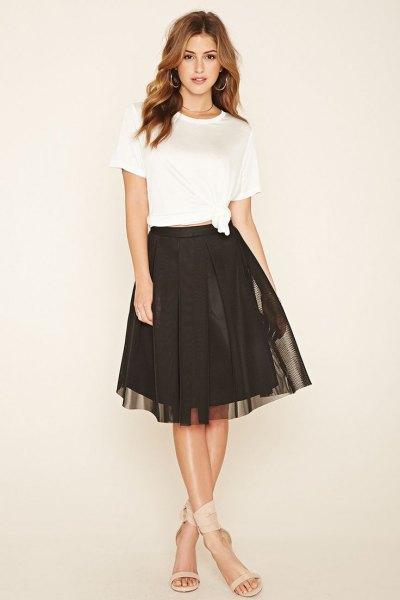 white shirt with brown net skate skirt