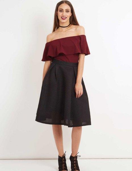 burgundy off shoulder blue blouse with black mesh midi skirt