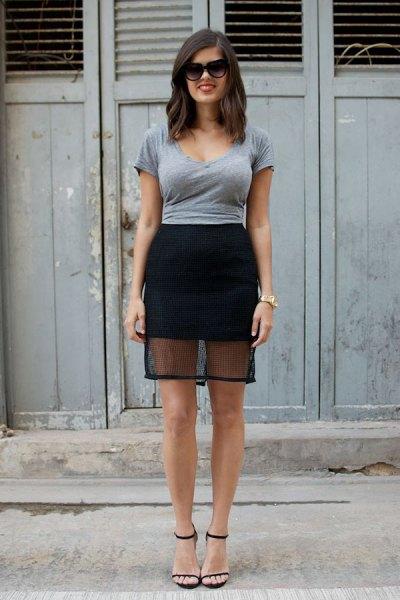 gray formal tee with black mini mesh skirt