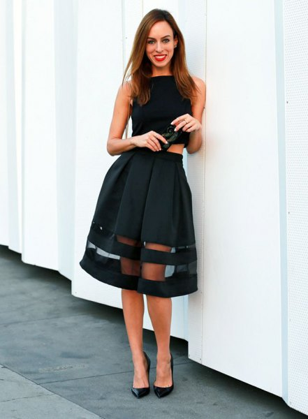 black sleeveless crop top with midi mesh extended skirt