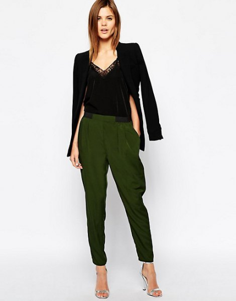 black blazer with dark brown elasticated waist tapered leggings