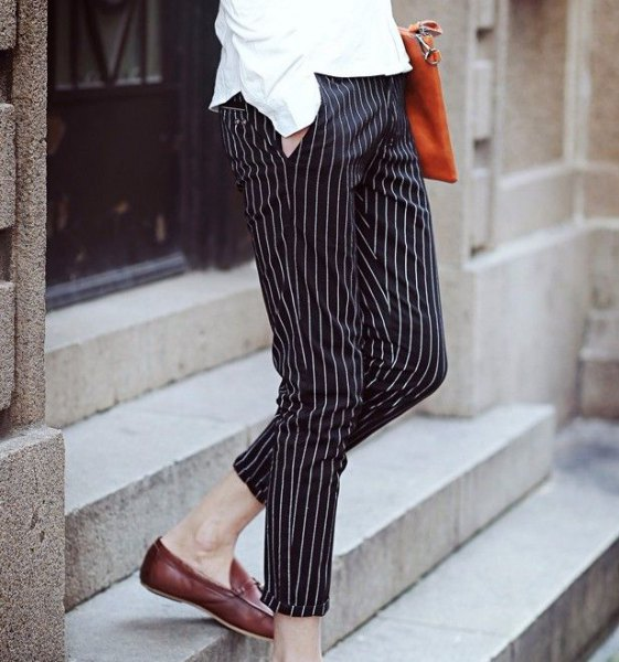 button up shirt with black and white striped crop pants