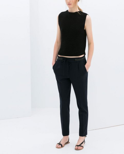 black sleeveless crop top with matching back pants