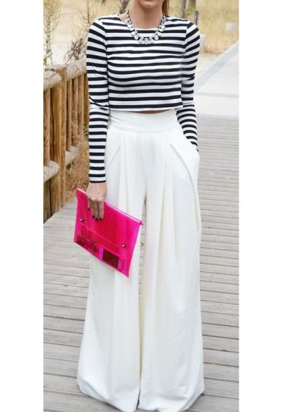 black and white striped long sleeve cropped tee with protruding pants