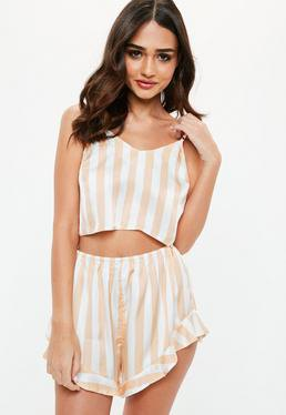 light pink and white vertical striped flowing silk pajama shorts with matching crop top